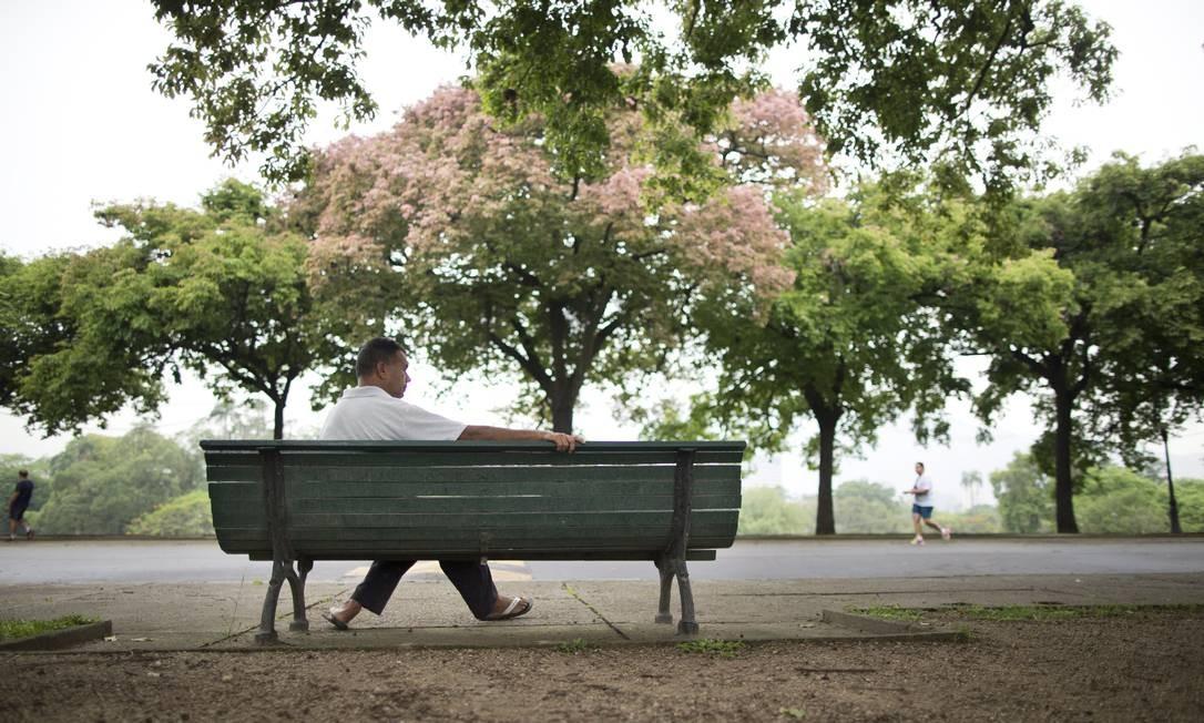 Sentado em banco, homem aprecia a beleza da Quinta da Boa Vista Foto: Márcia Foletto / Agência O Globo