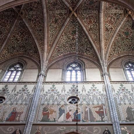Detalhes da parede da Catedral de Uppsala, na Suécia Foto: Reprodução/Wikipedia