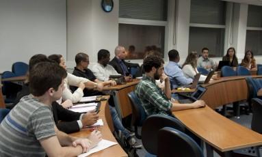 Sala de aula do IBMEC, no Centro do Rio Foto: Adriana Lorete/Agência O Globo/21-11-2017