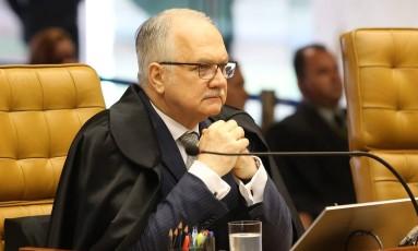 O ministro Edson Fachin, durante sessão do Supremo Tribunal Federal Foto: Ailton de Freitas / Ailton de Freitas/Agência O Globo/23-11-2017
