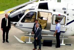 Presidente Michel Temer desembarca em heliponto de São Paulo, após ter alta Foto: Reprodução/Globonews