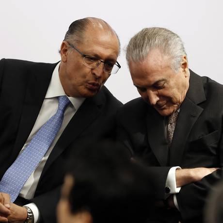 O governador Geraldo Alckmin e o presidente Michel Temer Foto: Edilson Dantas / Edilson Dantas/Agência O Globo