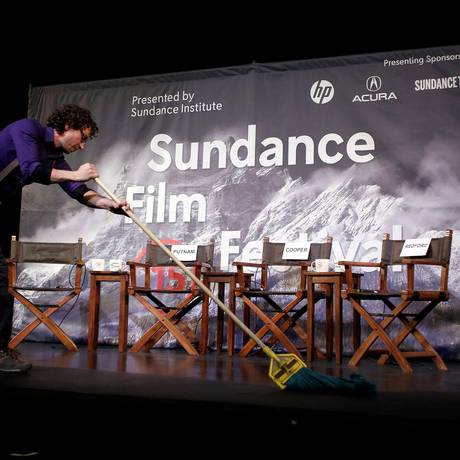 Palco do Festival de Sundance sendo preparado, em 22 de janeiro de 2015 Foto: Jim Urquhart / REUTERS