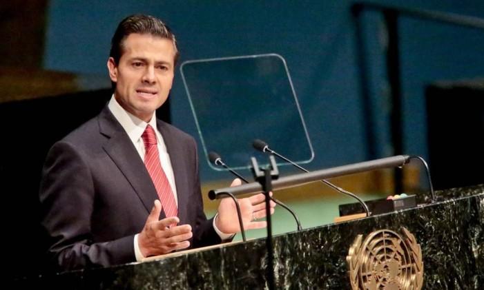 Presidente do México, Enrique Peña Nieto, faz discurso na ONU Foto: Bebeto Matthews / AP