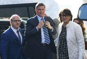 Ex-conselheiro de segurança nacional de Trump, Michael Flynn chega a tribunal federal em Washington Foto: Susan Walsh / AP