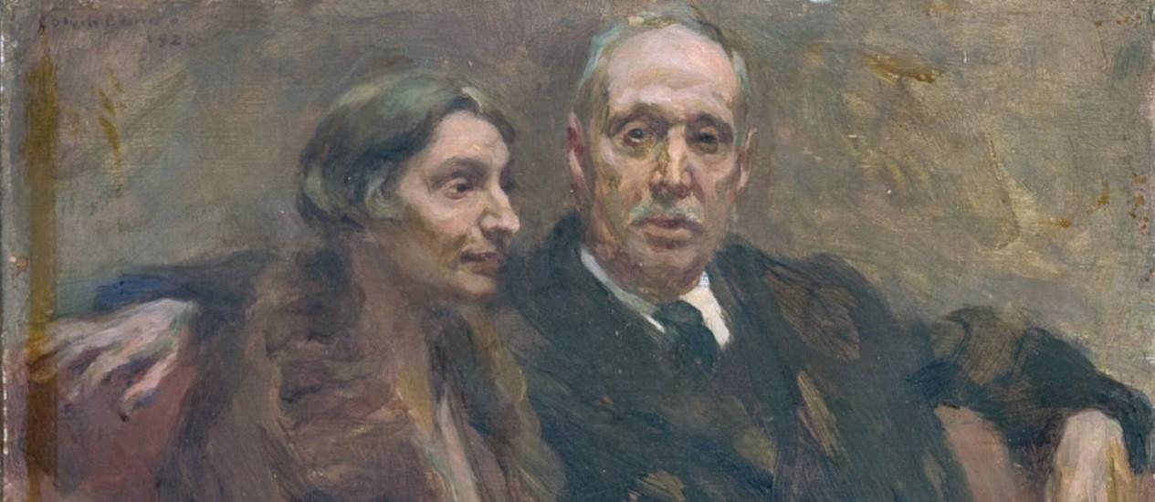 Retrato de Raul Brandão e sua esposa, D. Angelina Brandão, por Columbano Bordalo Pinheiro, em 1928. Foto: Domínio público