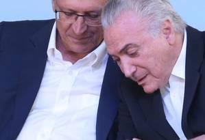 O presidente Michel Temer e o governador de São Paulo, Geraldo Alckmin Foto: Marcos Alves / Agência O Globo