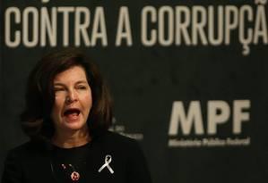 A procuradora-geral da República, Raquel Dodge, discursa em evento do Ministério Público Federal Foto: Ailton de Freitas/Agência O Globo