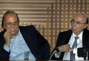 O governador do Rio, Luiz Fernando Pezão, ao lado do Minsitro da Fazenda, Henrique Meirelles Foto: Antonio Scorza / Agência O Globo