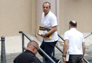 O ex-governador Sérgio Cabral chega à Justiça Federal para prestar novos depoimentos Foto: Pedro Teixeira / O Globo