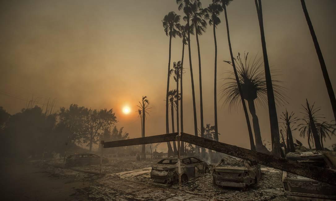 Centenas de cosntruções e veículos foram consumidos pelas chamas Noah Berger / AP