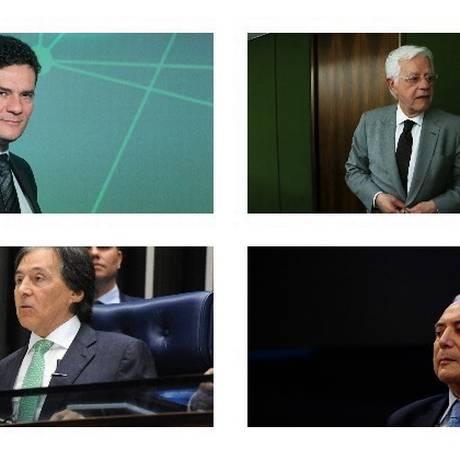 O juiz Sergio Moro, o presidente Michel Temer, o senador Eunício Oliveira e o ministro Moreira Franco Foto: Montagem/O GLOBO