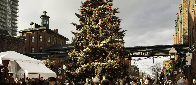 Árvore de Natal no Toronto Christmas Market Foto: The Distillery Historic District