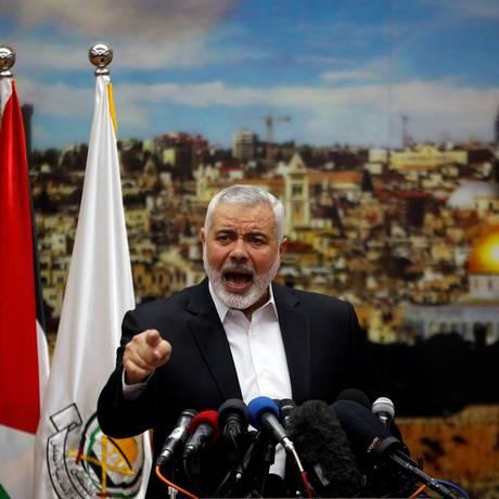 Líder do Hamas Ismail Haniyeh discursa após Donald Trump reconhecer Jerusalém como a capital de Israel Foto: MOHAMMED SALEM / REUTERS