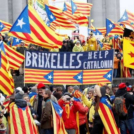 Independentistas fizeram um apelo à União Europeia (UE) sobre a situação na Catalunha Foto: YVES HERMAN / REUTERS