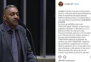 Tiririca anunciou saída da vida pública Foto: Reprodução/Instagram