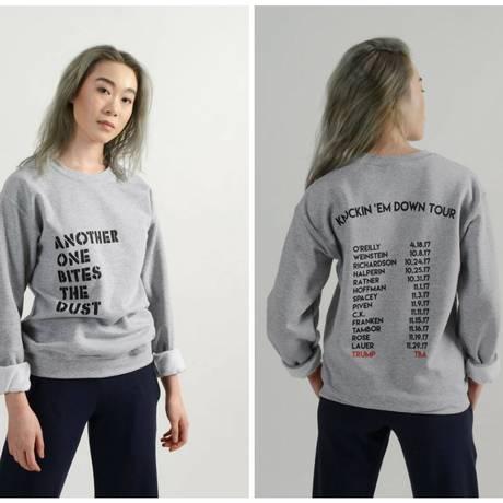 Moletom da marca ameriana Meg Shops traz lista de homens poderosos acusados de assédio sexual Foto: Divulgação / Meg Shops