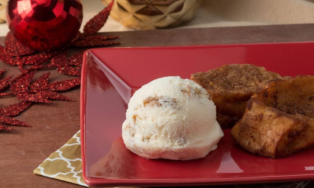 O Sorvete Itália oferece, de 12 a 25 de dezembro, sorvete de rabanada, com camadas do doce salpicado com canela, intercaladas por sorvete de vanilla (R$ 9,50). Av. Henrique Dumont 71 loja C, Ipanema (2239-1396). Foto: Divulgação/Vitor Faria