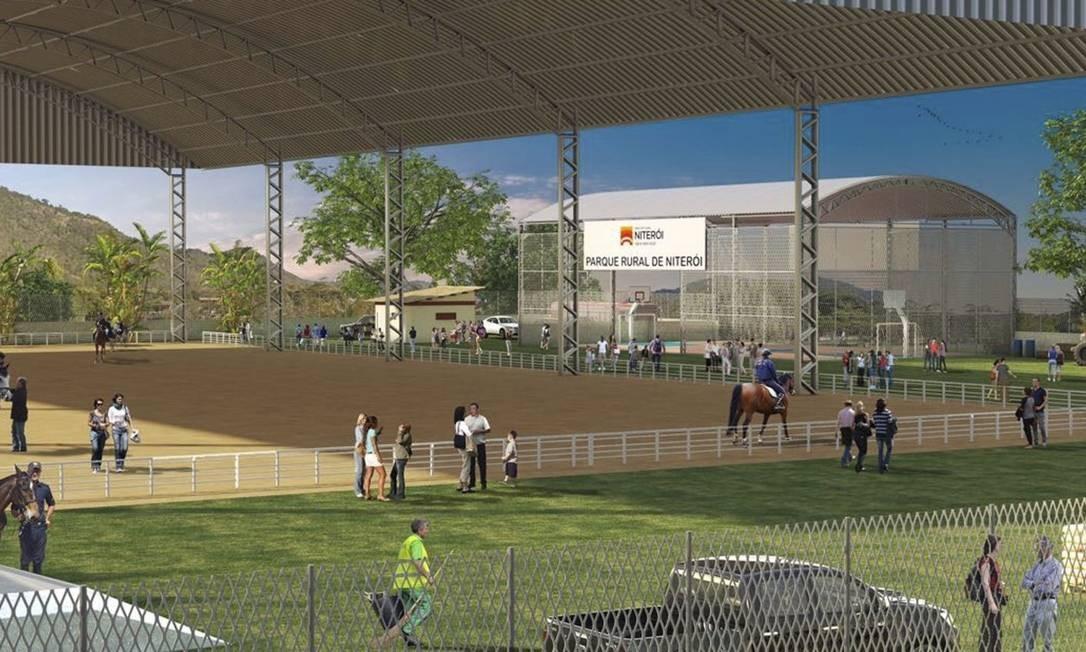 Perspectiva. Imagem do projeto do parque rural, que receberá shows sertanejos e exposições agropecuárias Foto: Divulgação/Prefeitura de Niter /