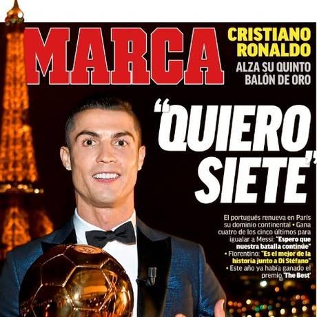 Cristiano Ronaldo quer a sétima Bola de Ouro Foto: Reprodução