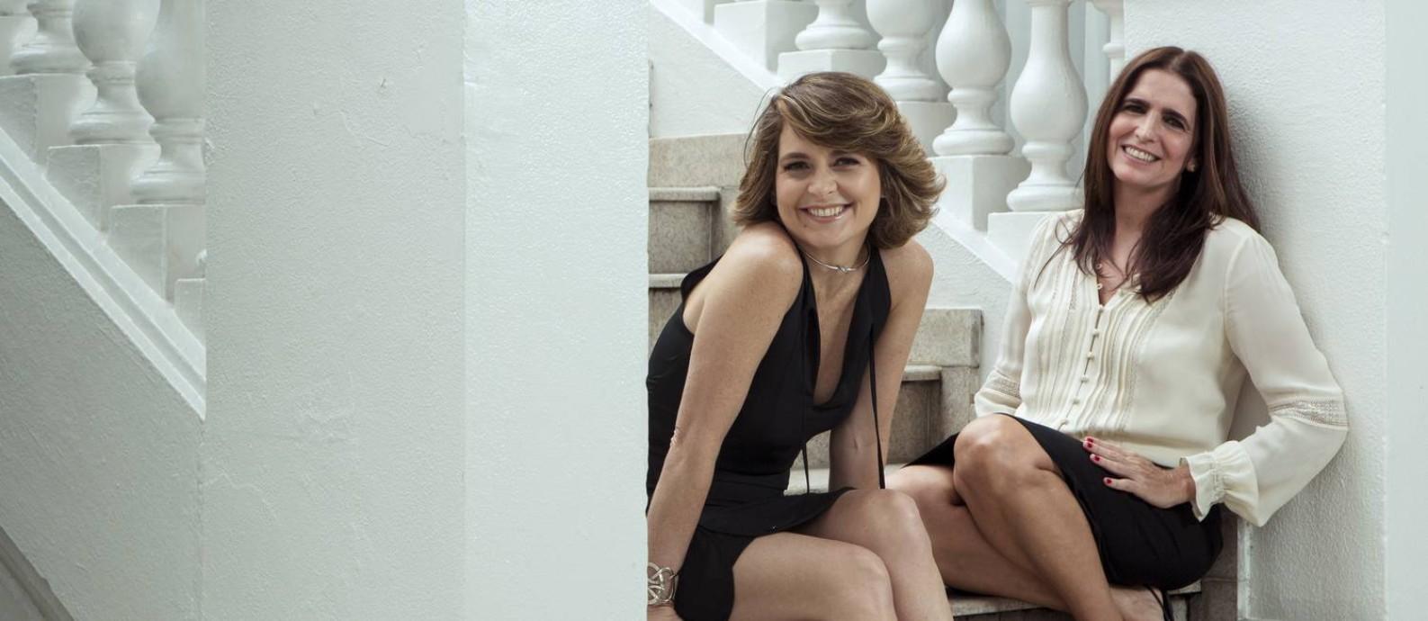 As atrizes Malu Mader e Cláudia Abreu no Copacabana Palace Foto: Leo Martins / O Globo