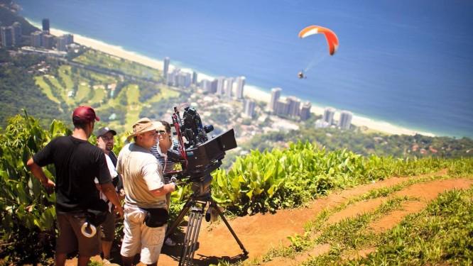 Filmes em 3D: Gravações do primeiro filme 3D brasileiro. Locação Pedra Bonita em São Conrado Foto: Gustavo Pellizzon/05-11-2009