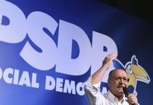 Ao ser eleito presidente do PSDB, Geraldo Alckmin sustenta que partido estará unido em 2018 Foto: EVARISTO SA / AFP
