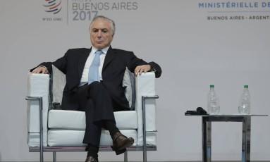 O presidente Michel Temer na abertura da XI Conferência Ministerial da OMC, em Buenos Aires. Crédito: AP Photo/Natacha Pisarenko Foto: Natacha Pisarenko / AP