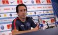 O técnico Unai Emery não sabe quando contará com seu principal jogador Foto: PSG/Divulgação