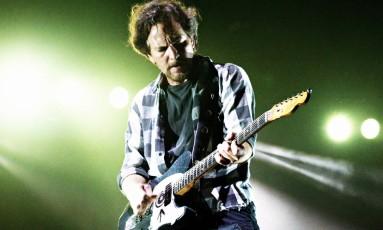 O vocalista do Pearl Jam, Eddie Vedder Foto: Lucas Tavares / Agência O Globo