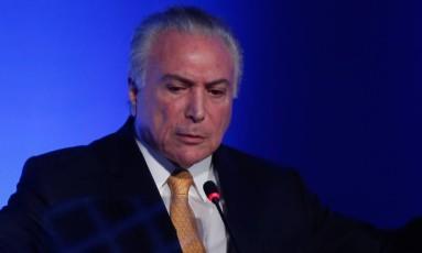 Presidente Michel Temer durante evento, em São Paulo, na última sexta-feira. Foto: Marcos Alves / Agência O Globo