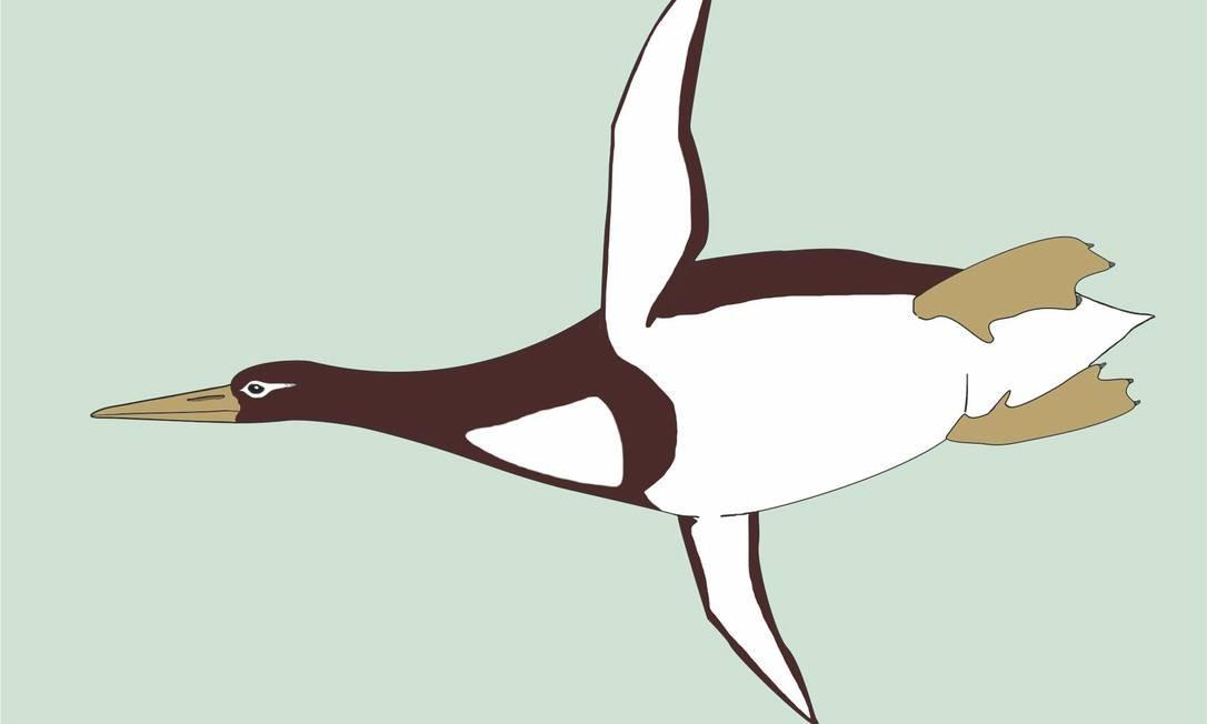 Ilustração mostra o pinguim gigante que viveu entre 60 milhões e 55 milhões de anos atrás Foto: Gerald Mayr / AP