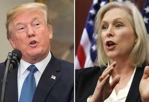 Trump e Gillibrand: nível baixou no debate Foto: Montagem