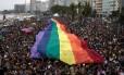Parada gay na praia de Copacabana, em novembro Foto: LEO CORREA / AFP
