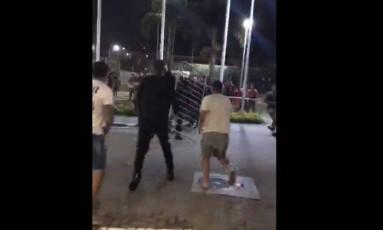 Confusão entre rubro-negros e torcedores do Independiente Foto: Reprodução