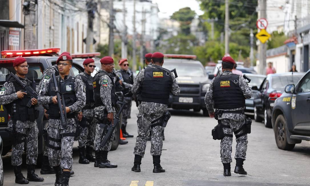 A Força Nacional de Segurança nas ruas doRio,em julho de 2017 Foto: Pablo Jacob / Agência O Globo