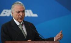 O presidente Michel Temer, durante reunião com prefeitos no Palácio do Planalto Foto: Givaldo Barbosa/Agência O Globo