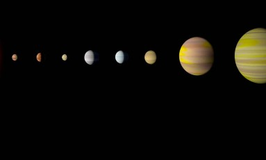 Com a descoberta do oitavo planeta em torno da estrela Kepler-90, o sistema é o primeiro a se igualar ao nosso em número de objetos do tipo Foto: Divulgação/Nasa