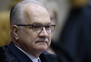 O ministro Edson Fachin, durante sessão do Supremo Tribunal Federal Foto: Jorge William/Agência O Globo