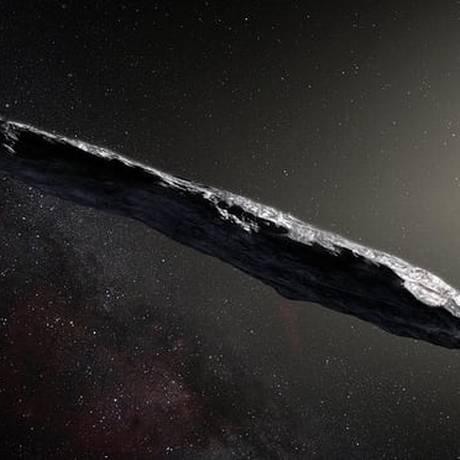 Ilustração mostra como seria o 'Oumuamua Foto: ESO/M. Kornmesser