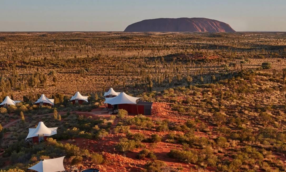 Também na Austrália fica o hotel Longitude 131°, na cidade de Yulara, localizada no desértico e inabitado Parque nacional de Uluru-Kata Tjuta, perto da imensa e bela rocha de Ayers Foto: Longitude 131°/Divulgação