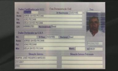 Seap inclui fotos de Picciani e deputados no sistema de cadastro de presos Foto: Reprodução TV