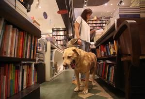 O labrador Home é atração à parte na Livraria da Travessa Foto: Custódio Coimbra / Agência O Globo