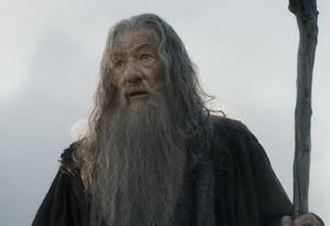 Ian McKellen como o mago Gandalf em 'O Hobbit: A batalha dos cinco exércitos' Foto: Warner Bros. / Divulgação