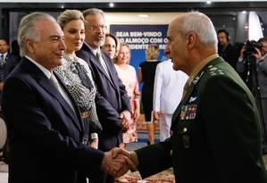 Michel Temer em cerimônia de apresentação dos Oficiais promovidos, seguido de cumprimentos e almoço Foto: MARCOS CORREA / Agência O Globo