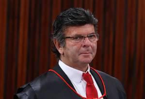O ministro Luiz Fux no plenário do Tribunal Superior Eleitoral Foto: Ailton de Freitas / Agência O Globo