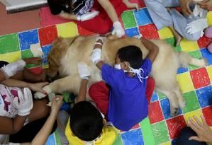 Criança abraça cão durante
