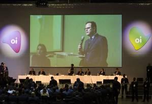 Assembleia de credores da Oi. Arnold Wald Filho, presidente da mesa e administrador judicial. Foto: Fernando Lemos / Agência O Globo