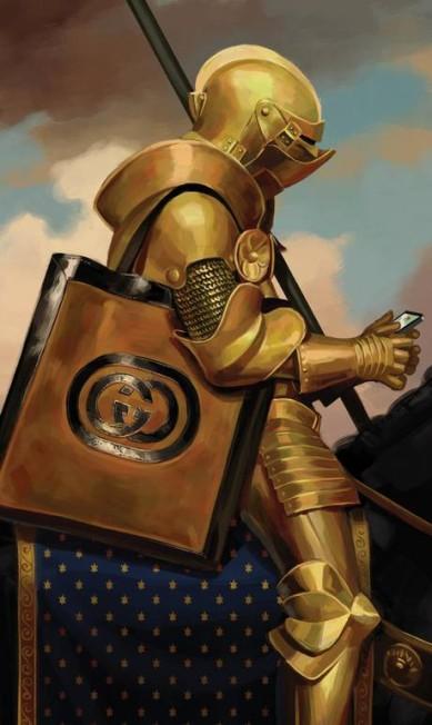 A campanha também tem um toque de humor, como esta imagem em que um cavaleiro medieval usa o celular — com uma bolsa da Gucci a tiracolo Divulgação