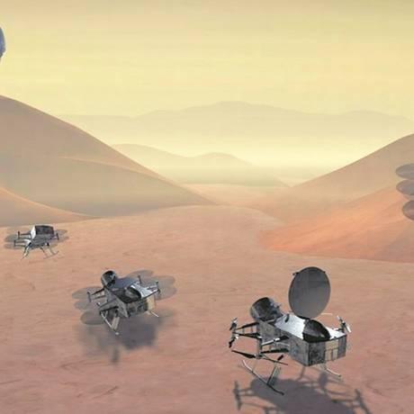 Ilustração do drone Dragonfly na lua Titã: sonda analisará composição química do satélite e possibilidade de vida extraterrestre Foto: Divulgação/Nasa